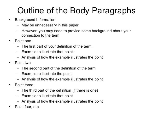 Outline for definition essay