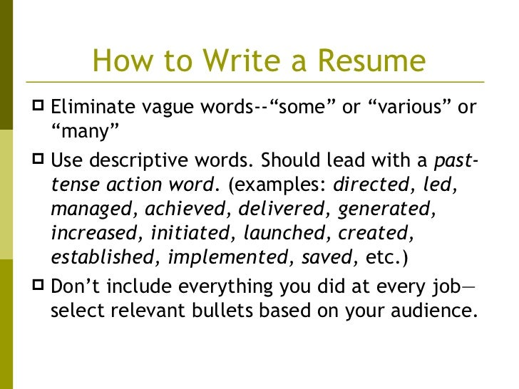descriptive words for a resumes