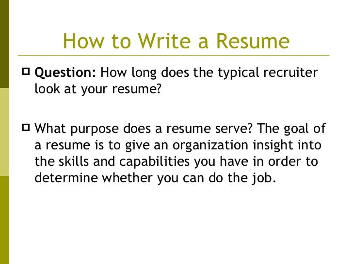 How To Write A Resume ...