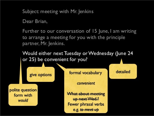 How to write a formal business english email 8 subject meeting altavistaventures Choice Image