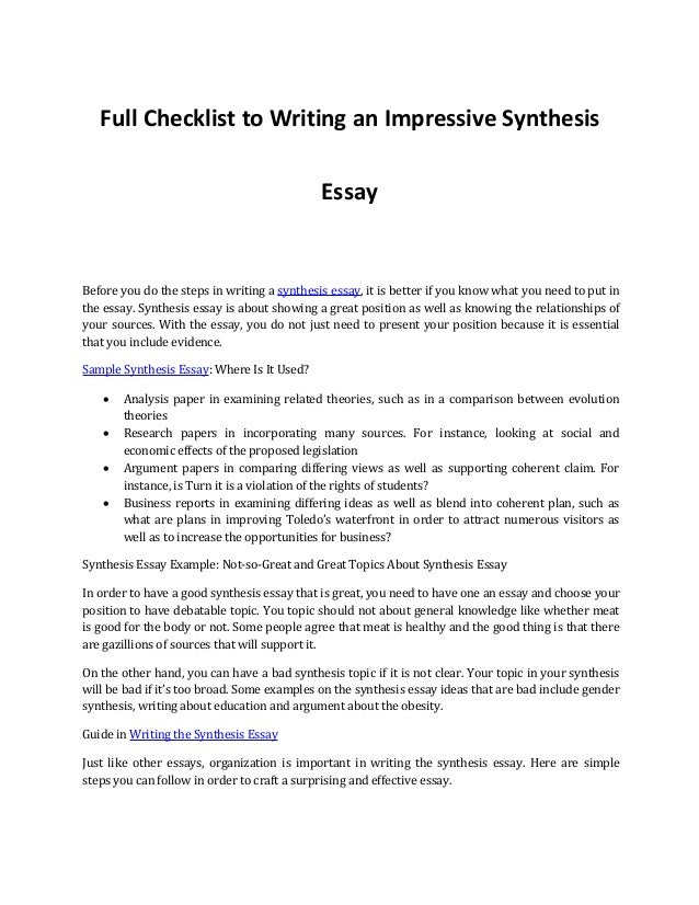 Full Checklist To Writing An Impressive Synthesis Essay Before You Do The  Steps In Writing A ...