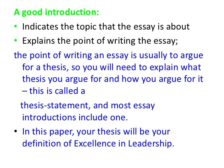 Introduction to an essay: example