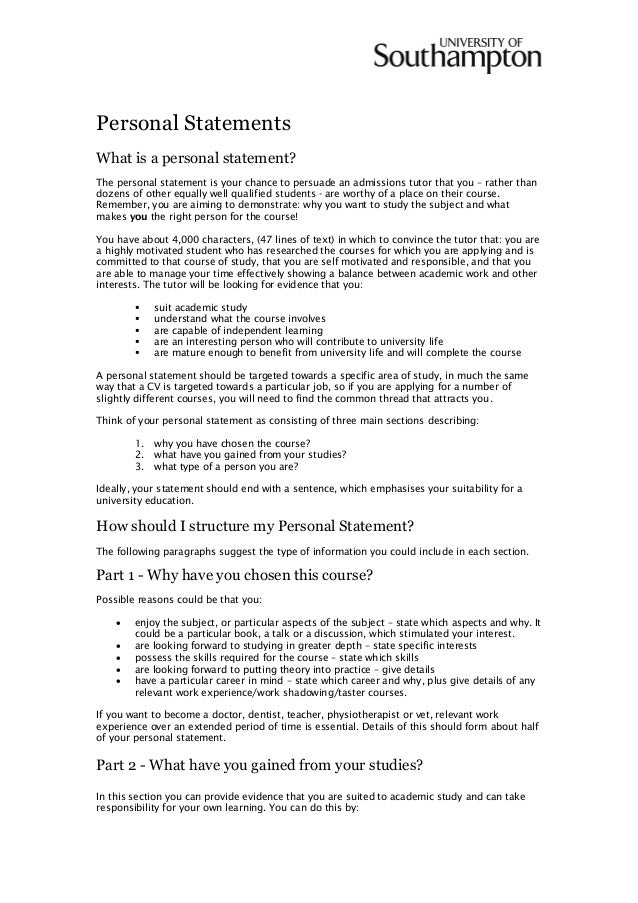 Writing A Personal Statement Guide  By Fred Binley Southampton Uni