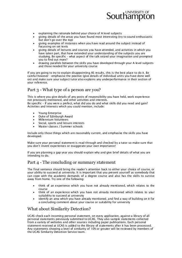 uni personal statement