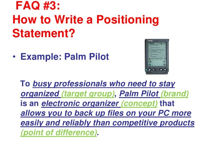 Writing a positioning statement