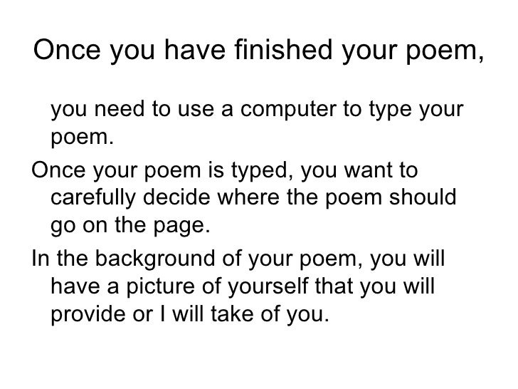 how do i write a poem about myself