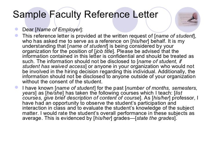 Charming Sample Faculty Reference Letter ...