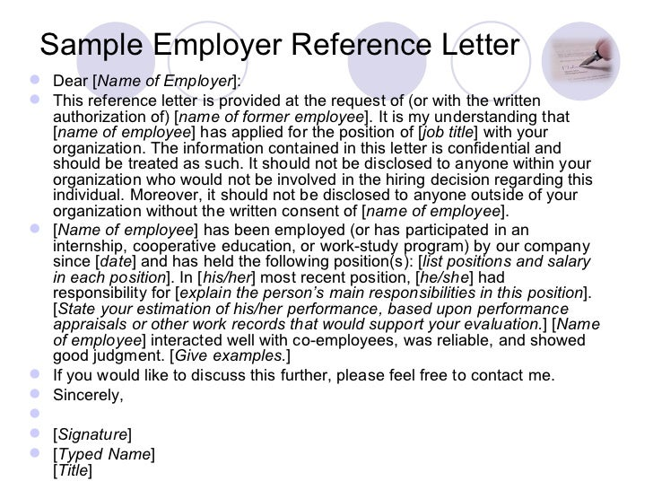 Sample Employer Reference Letter ...