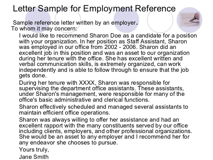 Letter Sample For Employment Reference ...