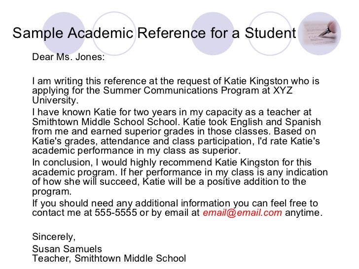 reference letter samples for teachers