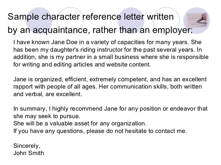 Sample Character Reference Letter ...