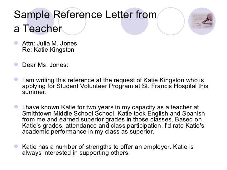 reference letters for students from teachers