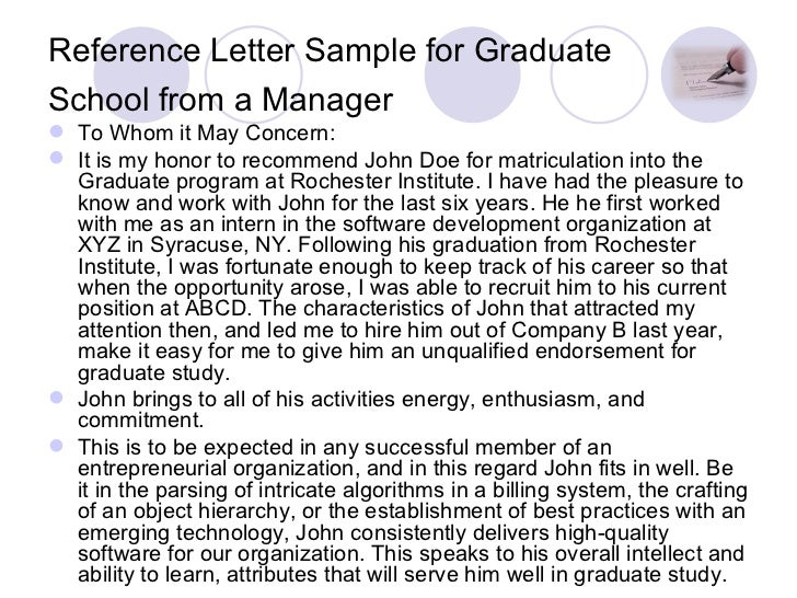 letters of recommendation for graduate school samples