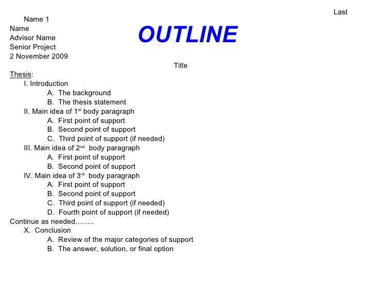 Senior thesis outline