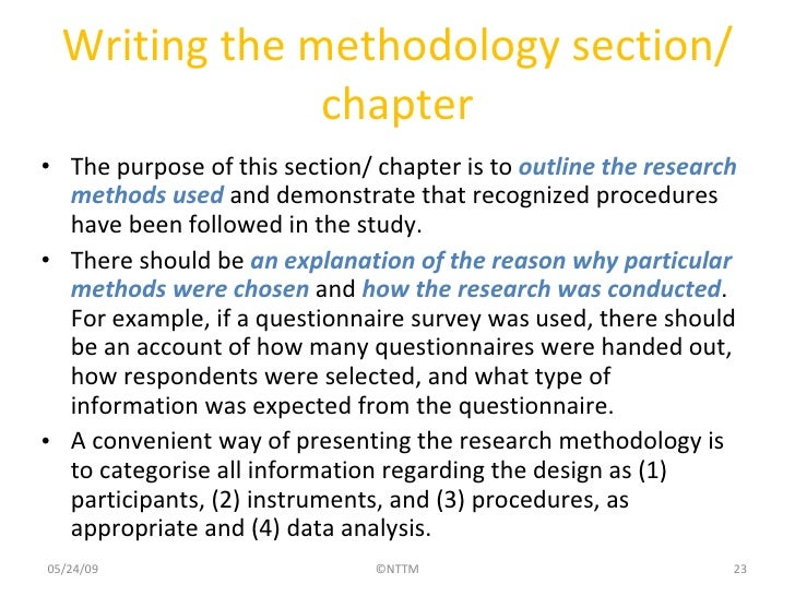 How to write a simple research methods section
