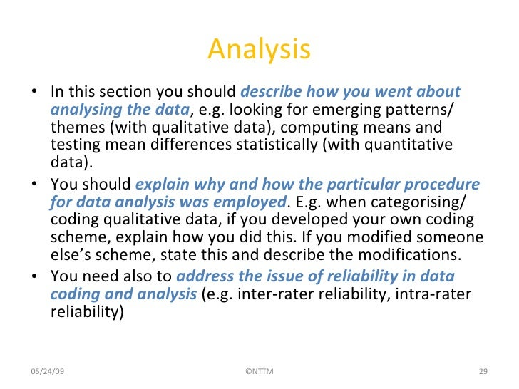 Data analysis section of dissertation
