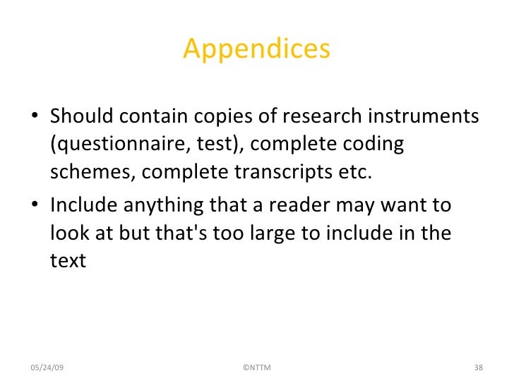 research paper with appendix example