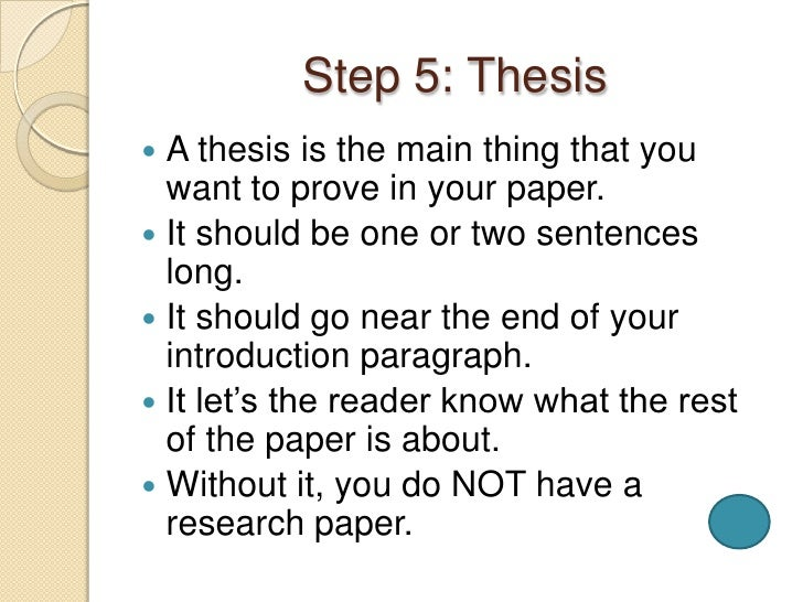Steps to a research paper