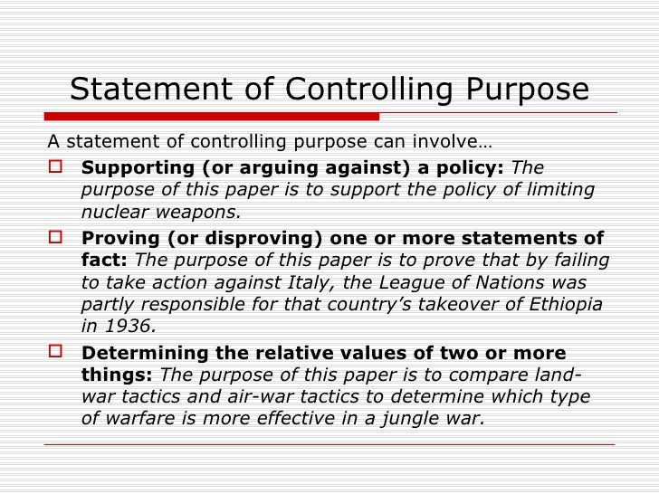 difference between controlling purpose thesis statement