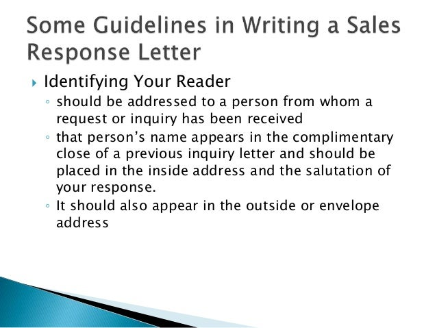 Writing A Sales Response Letter