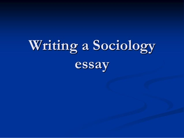 Sociology q and a essay