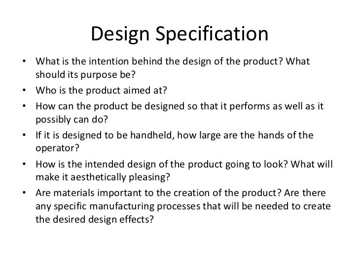 how to write a design specification
