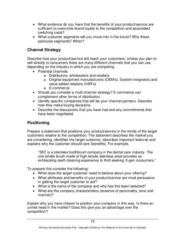 business plan write up