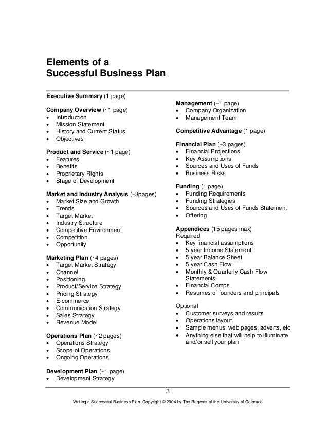 writing a successful business plan an overview