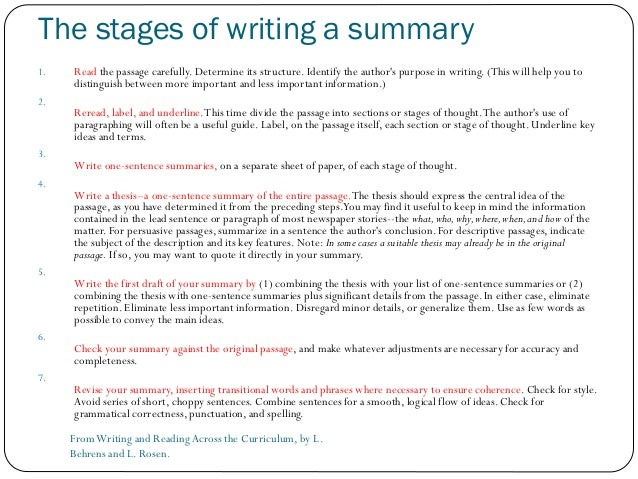 Writing a summary (Material from Towards Proficiency (OUP)