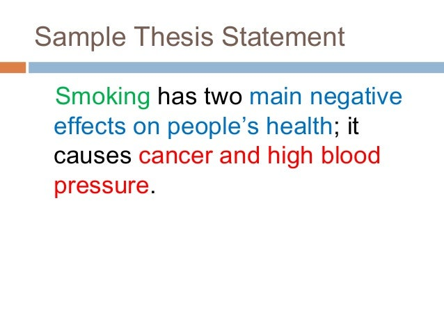 thesis statement for not smoking cigarettes Allen carr the easy way to stop smoking tobacco cigarettes  containing thesis  statements that summarize carr's belief that quitting is easy.