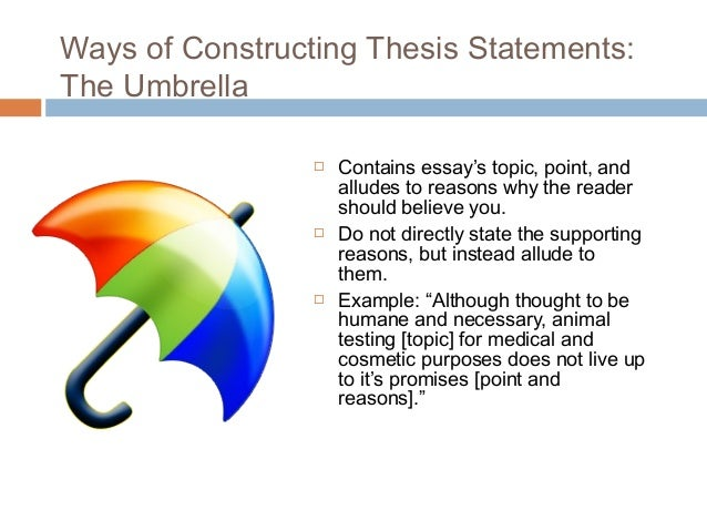 in an essay example of a thesis statement for an essay s