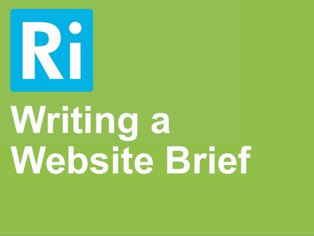 Writing aWebsite Brief