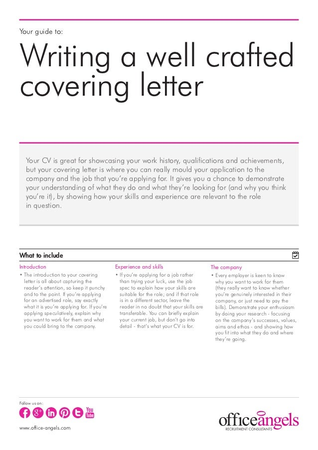 Your guide to:Writing a well craftedcovering letter   Your CV is great for showcasing your work history, qualifications an...