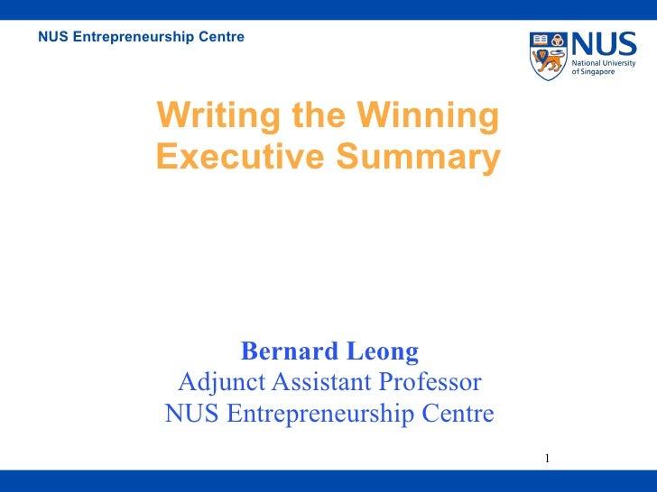 Writing A Winning Executive Summary 2006