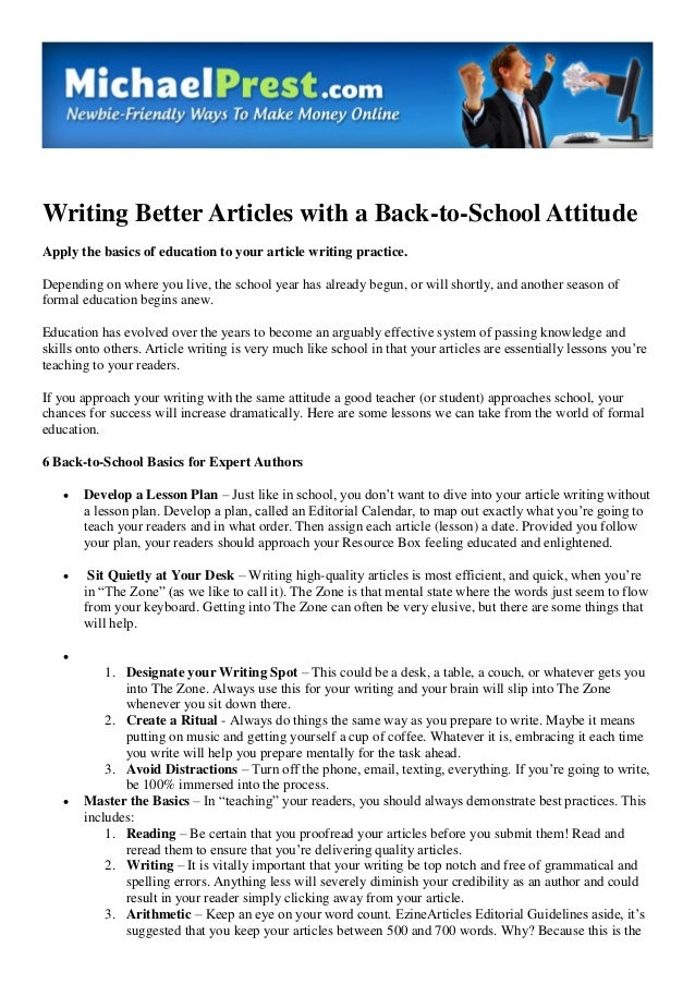Writing Better Articles With A Back To School Attitude