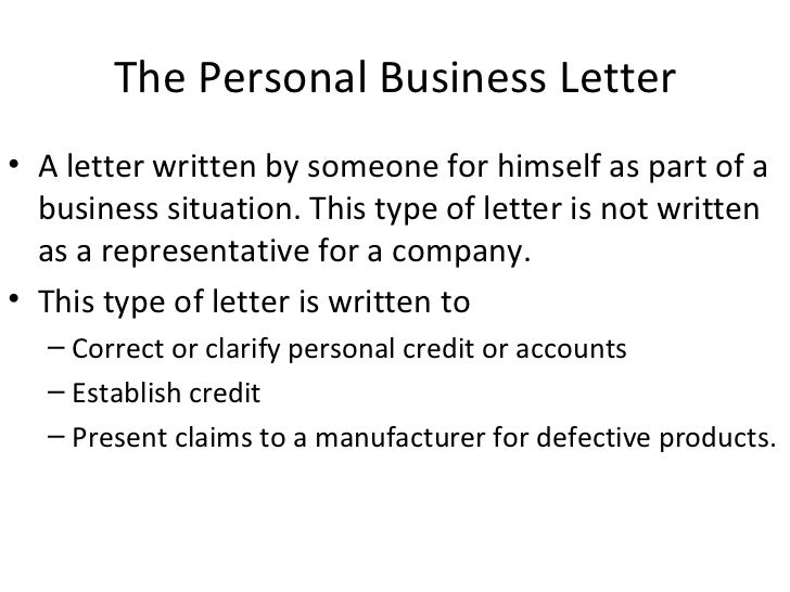 Writing Business Letters – Personal Business Letter