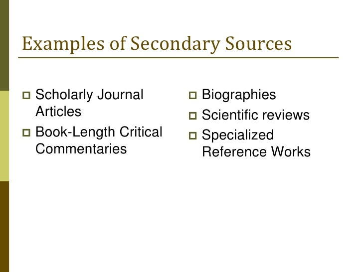 10 examples of secondary sources