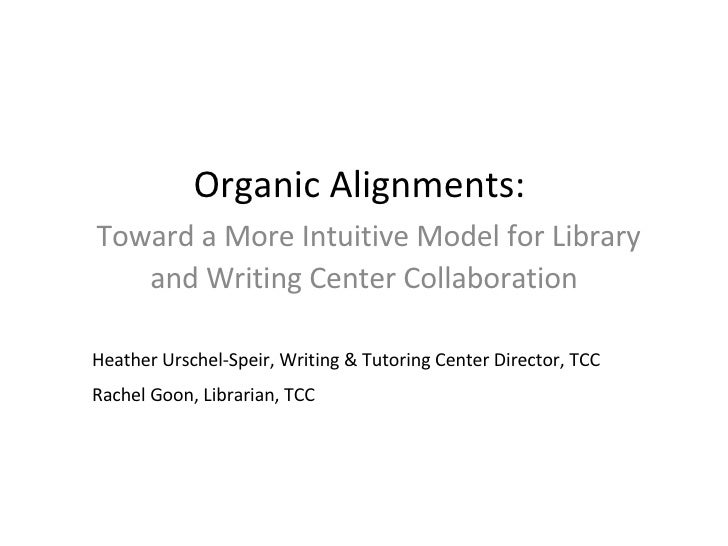 Organic Alignments:    Toward a More Intuitive Model for Library and Writing Center Collaboration Heather Urschel-Speir, W...