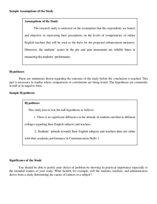 thesis assumptions of the study