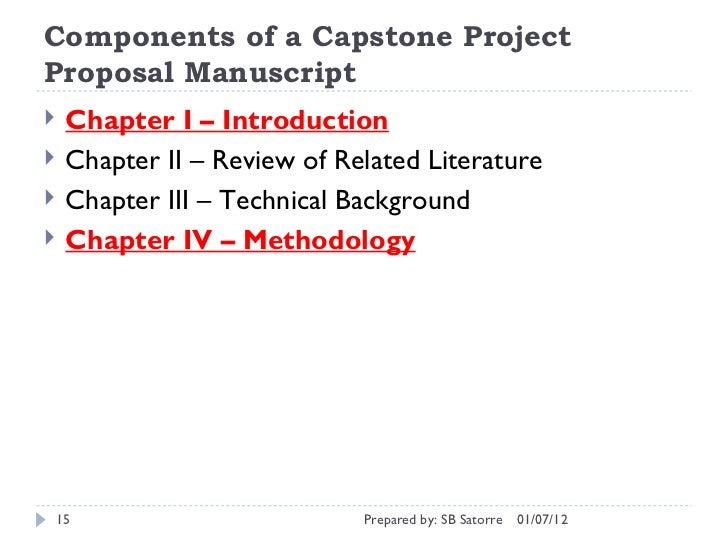 Writing Chapters 1, 2, 3 of the Capstone Project Proposal Manuscript