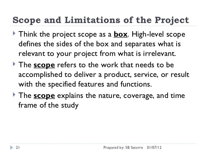 Scope And Limitations Example In A Thesis