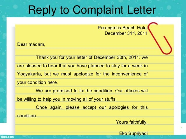 Writing Complaint Letter Yours Faithfully Yulia Mufarichah 3 Reply To Complaint  Letter  Complaint Letters Samples