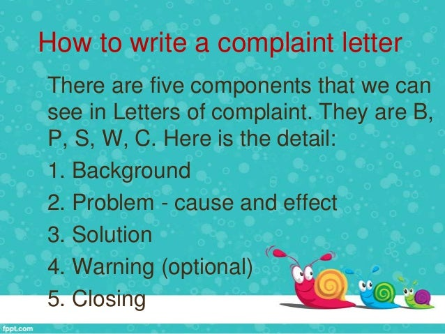 Help with writing a letter of complaint