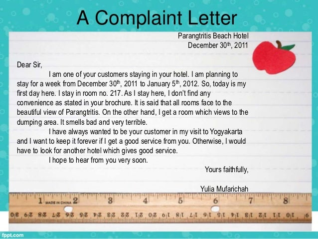 Complaint letter sample