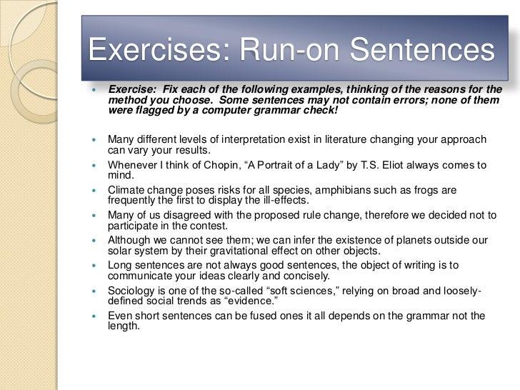 Exercises: Run-on Sentences ...
