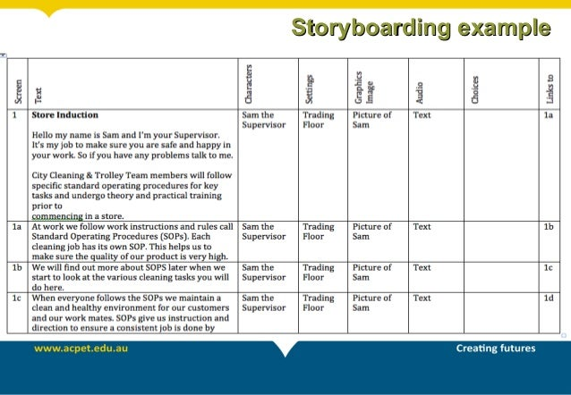 Writing content for elearning storyboarding examplestoryboarding example saigontimesfo