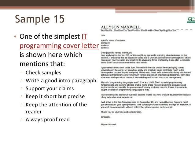 short application cover letter samples