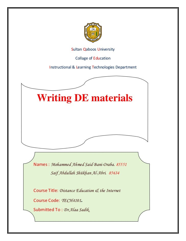 Sultan Qaboos University                      Collage of Education        Instructional & Learning Technologies Department...
