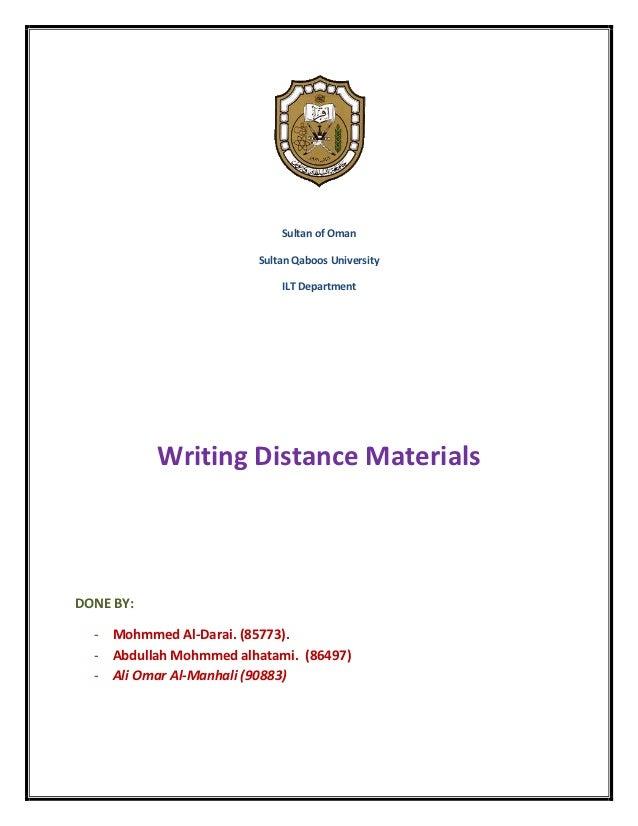 Sultan of Oman                         Sultan Qaboos University                             ILT Department           Writi...