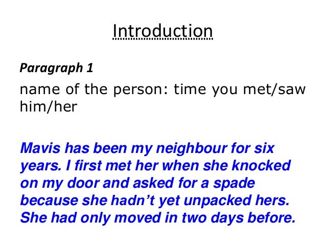 how to start a paragraph about a person